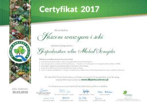 Dolina Baryczy - Certyfikat 2017