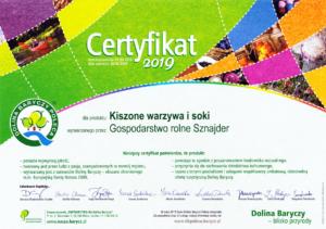 Certyfikat Dolina Baryczy 2019